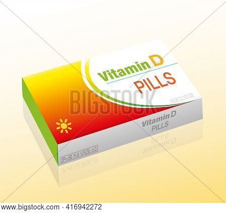 Vitamin D Pills, As A Supplement To Healthy Diet, Medical Dummy Packet With Tablets That Prevent Vit