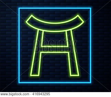 Glowing Neon Line Japan Gate Icon Isolated On Brick Wall Background. Torii Gate Sign. Japanese Tradi