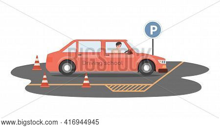 Driving School Vector Flat Illustration. Happy Smiling Man Driving Yellow Car And Preparing For Pass