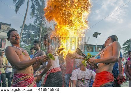 South 24 Pargana Bengal India On April 12th 2021:here The Devotees Inserted Sharp Arrows Into Their