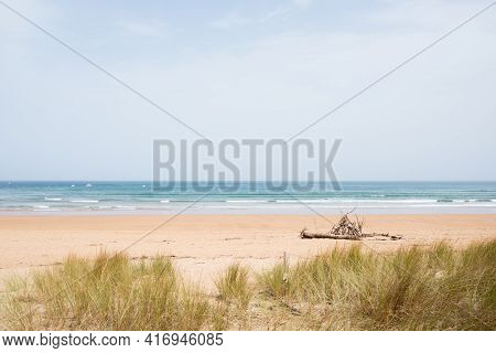 Idilic Beach With No People. Rodiles, Villaviciosa, Asturias