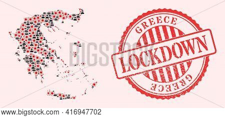 Vector Collage Greece Map Of Corona Virus, Masked Men And Red Grunge Lockdown Seal. Virus Cells And