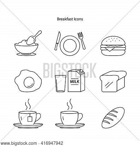 Breakfast Icon Set Isolated On White Background. Breakfast Icon Thin Line Outline Linear Breakfast S