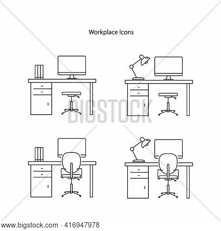 Workplace Icon Set Isolated On White Background. Workplace Icon Thin Line Outline Linear Workplace S