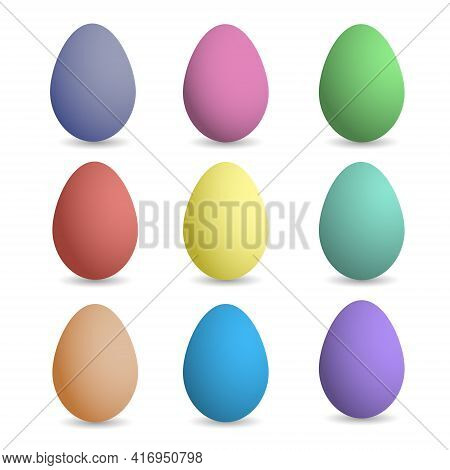 Multicolored Easter Eggs. Easter Eggs. Happy Easter Card. Easter Eggs On A White Background.