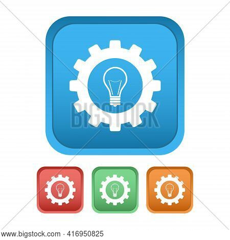Gears And A Lamp. Vector Icons With Button. Multicolored Icons On A White Background. Flat Vector Ic