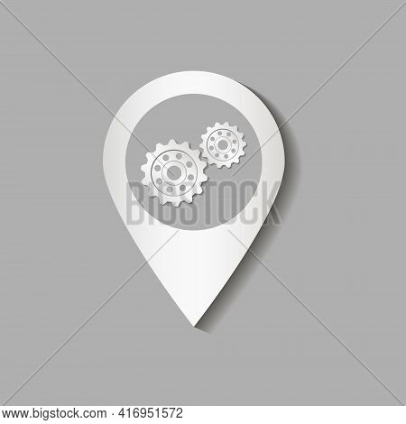Map Pointer. For Installation And Location. With The Image Of Gears. Vector Illustration.