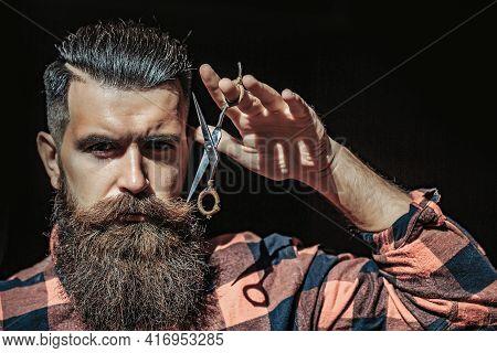 Man Hipster With Scissors. Barber Scissors And Straight Razor, Barber Shop, Suit. Vintage Barber Sho