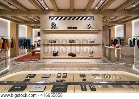 KUALA LUMPUR, MALAYSIA - CIRCA JANUARY, 2020: bags on display at Off-white store in Suria KLCC shopping mall in Kuala Lumpur.