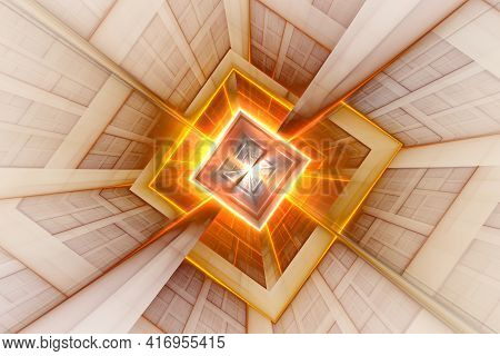 A Neon Green Kaleidoscope Square Shape Pattern Background. Abstract Square Tunnel. Technology Tunnel