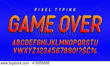 Pixel Vector Alphabet Design, Stylized Like In 8-bit Games. High Contrast And Sharp, Retro-futuristi