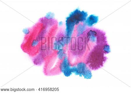 Blurry Pink And Blue Watercolors On Wet Paper