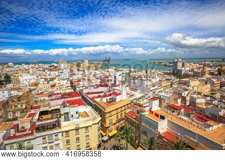 Cadiz, Andalusia, Spain - April 21, 2016: Top Of Cadiz Square On A Sunny Day By The Cathedral Of Cad