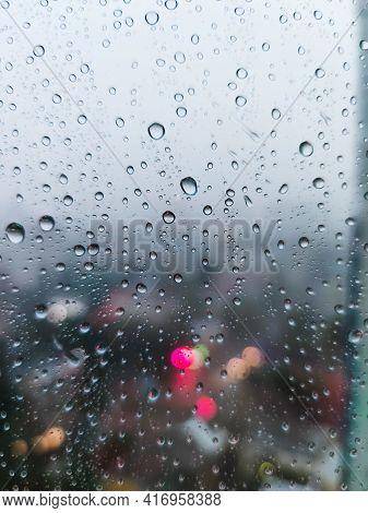 Rain Raindrops On The Window Glass Evening City Lights Macro Photo