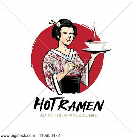 Ramen Lady Food Theme Vector Symbol For Design Element, Tshirt Print, Logo Or Any Other Purpose.