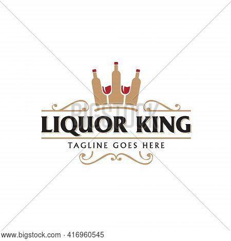Liquor Company Vector Illustration The King Of Liquor Concept With The Liquor Bottles And Glasses Of