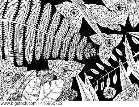 Tropical Plants - Floral Sketch Illustration. Rainforest Flowers Background. Jungle Exotic Leafs And