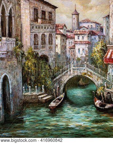 Oil Painting Outdoor Scene Of Venice, Italy