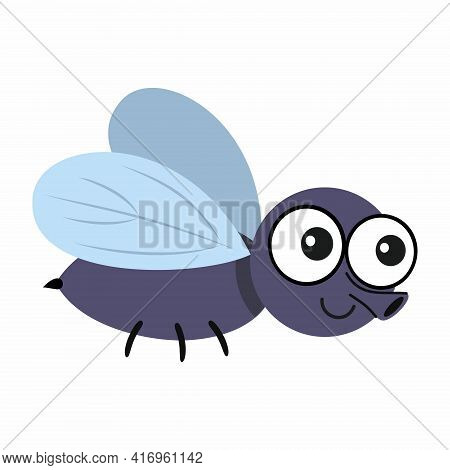 Funny Fly Isolated On A White Background. Fly In The Cartoon Style. Vector Illustration For Children