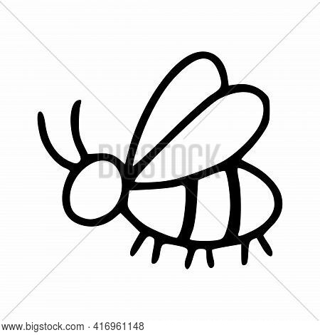 Cute Bee In The Doodle Style. Coloring Book For Kids With A Bee. Cards With Insects For Lessons With