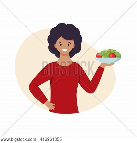A Woman Holds A Plate Of Vegetables In Her Hands. Food For Vegans. The Girl Follows A Diet.