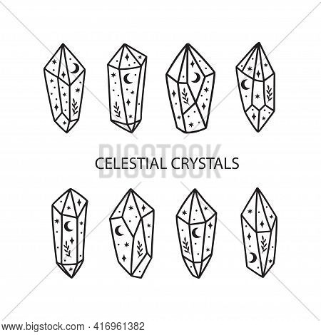 Magic And Celestial Crystal Vector Illustration Set. Trendy Witchcraft Symbol Gem. Mystical Boho Cry