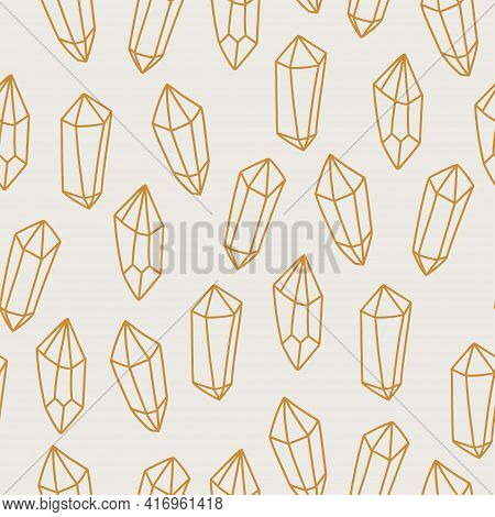 Magic And Celestial Seamless Pattern With Magical Crystal. Trendy Witchcraft Symbol Gem On Beige Bac