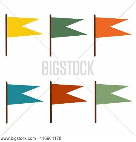 Multicolored Flags Vector Set. Bright Pennants Isolated On White Background. Simple Flat Style, Desi