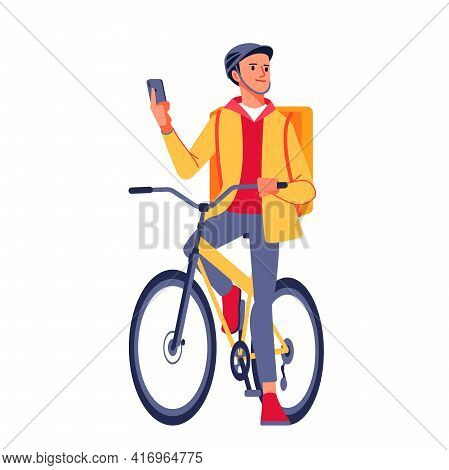 Young Male Cyclist With Courier Delivery Bag Using Mobile Phone On Street. Courier In Yellow Jacket