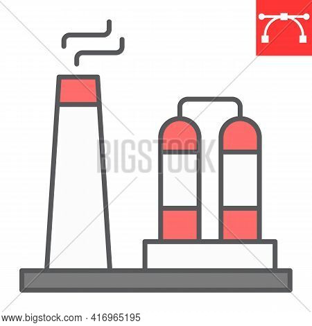 Refinery Color Line Icon, Factory And Industry, Chemical Plant Vector Icon, Vector Graphics, Editabl