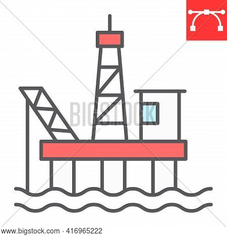 Oil Platform Color Line Icon, Gas Rig And Industry, Oil Platform Vector Icon, Vector Graphics, Edita