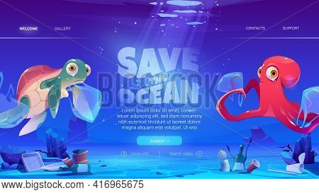 Save Ocean Website With Turtle And Octopus In Plastic Bags And Garbage On Sea Floor. Vector Landing
