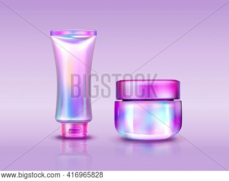 Holographic Cosmetics Package, Iridescent Tube And Jar For Cream, Cosmetic Beauty Product Packs, Mak
