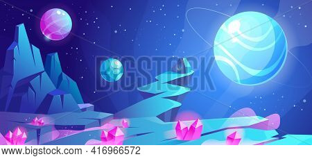 Space Landscape, Night Alien Fantasy Planet Surface With Rocks, Stone With Secret Sign, Pink Crystal