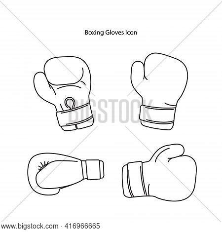Boxing Glove Icon Set Isolated On White Background. Boxing Glove Icon Thin Line Outline Linear Boxin