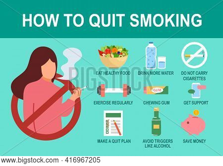 How To Quit Smoking Infographic With Useful Advices In Flat Design. Health Care Concept.