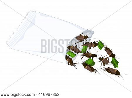 Crickets Insects For Eating As Food Deep-fried Crispy Snack With Vegetable In A Foil Wrap Bag Ready