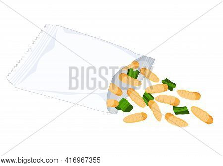 Silkworm Pupa Chrysalis Insects For Eat As Food Deep-fried Crispy Snack With Vegetable In A Foil Wra