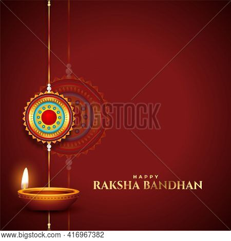Traditional Raksha Bandhan Wishes Card With Diya And Rakhi