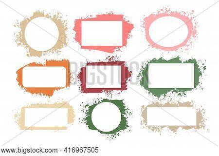 Set Of Splatter Grunge Frames In Many Colors
