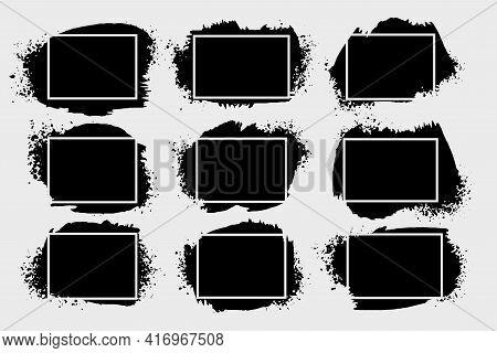Abstract Grunge Splatter Frames Set Of Nine
