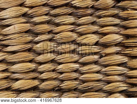 Wicker Straw Basket, Detail Close Up, Texture Of Braided Wicker Wood As Background