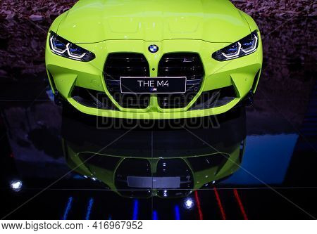 Bangkok, Thailand - April 4, 2021: Front View Of Bmw M4 Competition Coupe Headlights Exhibited In Ba