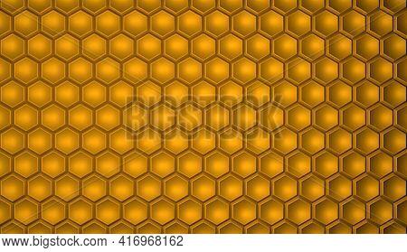 Textured Geometric Hexagonal Background In Yellow Color. Hexagonal Cells. 3d Rendering Illustration