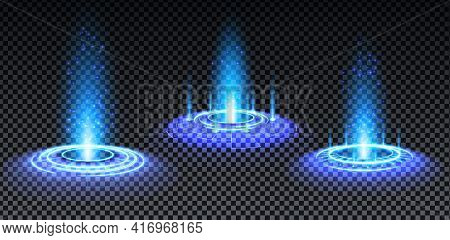 Blue Hologram Portal Set. Magic Fantasy Portal. Magic Circle Teleport Podium With Hologram Effect. V