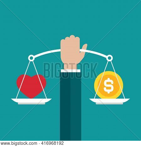 Businessman Hand Holds White Mechanical Scales With Dollar Coin And Red Heart In Pans. Love, Like, S