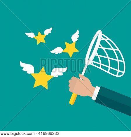 Businessman Hand Holds Butterfly Net With Stars. Catch, Hunt, Chase Symbol. Achieve Goals Or Dreams