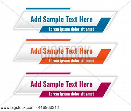 Abstract Lower Third Geometric Banners In Three Colors