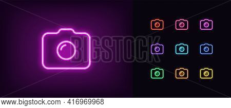 Neon Photo Camera Icon. Glowing Neon Camera Sign, Outline Photo Shooting Pictogram In Vivid Colors.