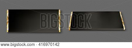 Chocolate Bar Wrapper With Gold Foil And Black Paper In Top And Perspective View. Vector Realistic M